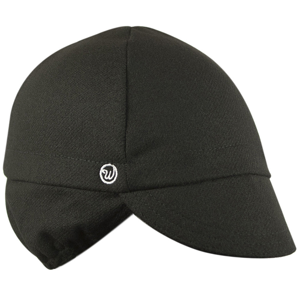 Wool 4-Panel Ear Flap Black Cycling Cap
