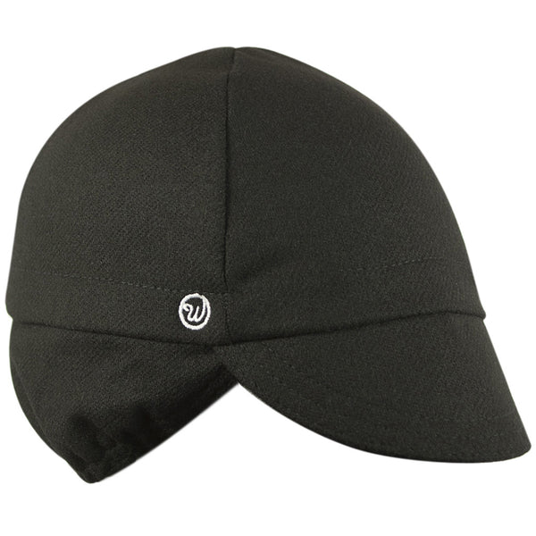 Black Wool Flannel Ear Flap Cap