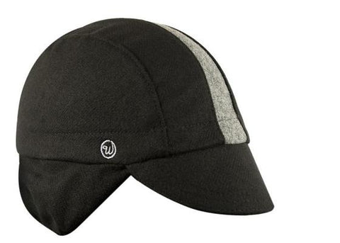 Wool 3-Panel Ear Flap Black/Grey Cycling Cap