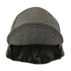 Wool 4-Panel Grey Ear Flap Cycling Cap