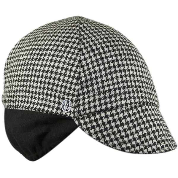 Wool 4-Panel Black Houndstooth Ear Flap Cycling Cap