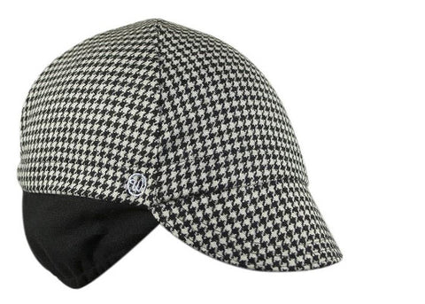 Houndstooth Wool Flannel Ear Flap Cap