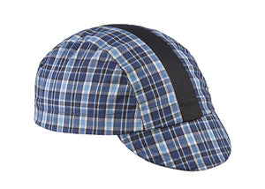 Blue/Black/Black Stripe 3-Panel Plaid Cycling Cap