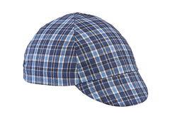 Blue/Black 4-Panel Plaid Cycling Cap