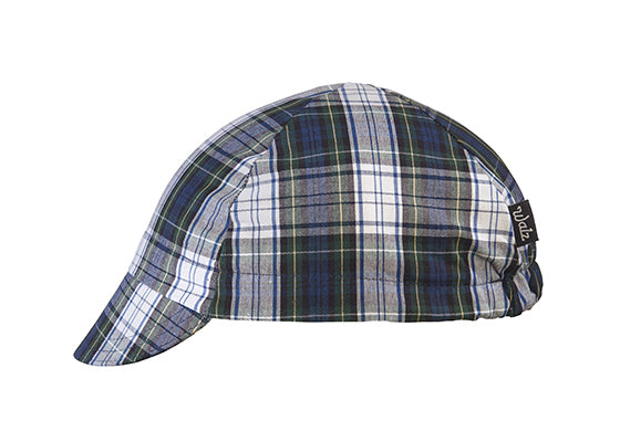 Green/Blue Plaid 4-Panel Cycling Cap