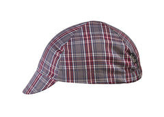 Grey/Maroon 4-Panel Plaid Cycling Cap