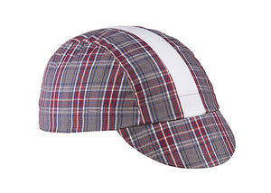 Grey/Maroon/White Stripe 3-Panel Plaid Cycling Cap