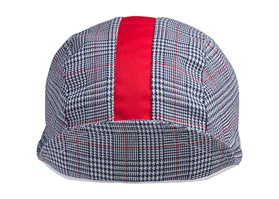 Navy/White/Red Stripe 3-Panel Plaid Cycling Cap