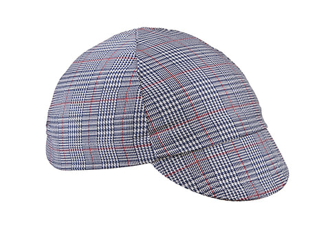 Navy/White/Red 4-Panel Plaid Cotton Cycling Cap