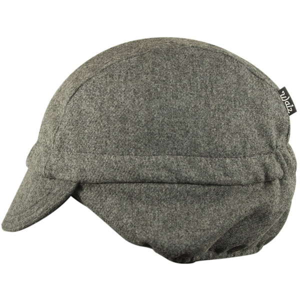 Charcoal/Black Stripe Wool Flannel Ear Flap Cap