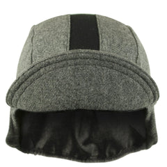 Wool 3-Panel Ear Flap Grey/Black Cycling Cap
