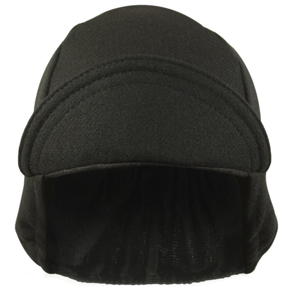 Wool 4 Panel Ear Flap Black Cycling Cap Walz Caps
