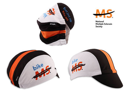 "Cap For a Cause - ""MS"" Black/Orange Technical Cycling Cap"