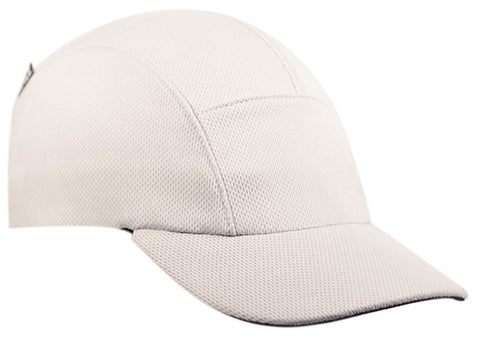 White Moisture Wicking Running Cap