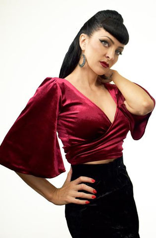 Ruby Red Wrap Top - Bonsai Kitten