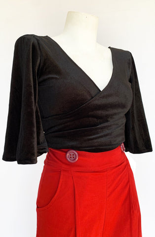 Black Raven Wrap Top - Bonsai Kitten