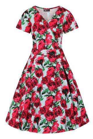 Estella Red Rose Blue Dress ~ Lady Vintage