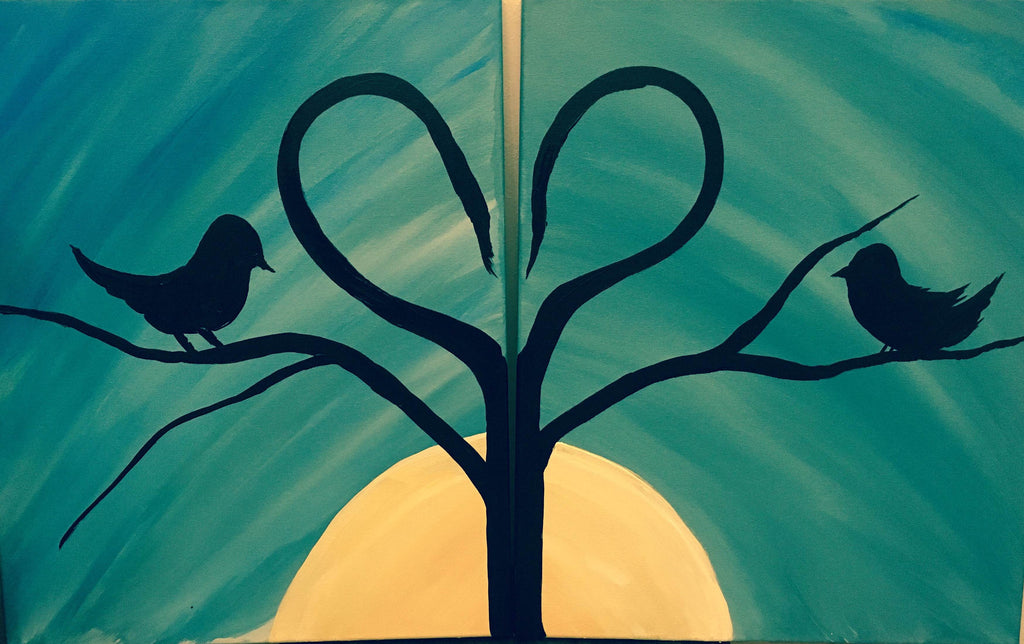 "Feb 14, Tue, 6:30-9pm ""Lovers"" Open Wine and Painting Class in St. Charles"