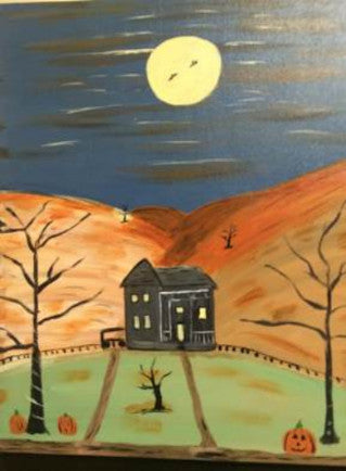 "Sep 22, Tue, 7-10pm ""Halloween House"" Public Wine & Paint Class in St. Charles"