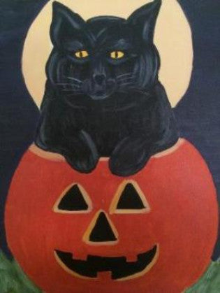 "Oct 27, Tue, 7-10pm ""Halloween Kitty"" Public Wine & Paint Class in St. Charles"