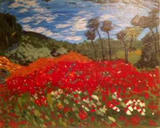 "July 27, Wed, 6-9pm van Gogh's ""Field with Poppies"" Open Wine and Painting Class in St. Charles"