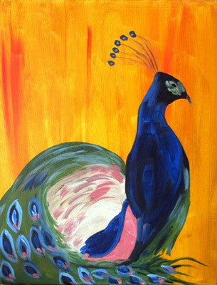 "Feb 25, Thu, 7-10pm ""Peacock"" Open Wine and Painting Class in St. Charles"