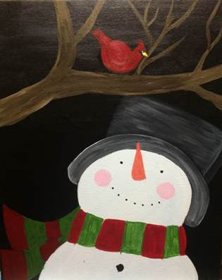 "Nov 25, Wed, 7-10pm ""Snowman"" Open Wine & Painting Class in St. Charles"
