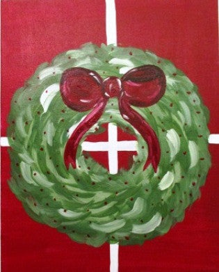 "Dec 8, Tue, 6-9pm ""Christmas Wreath"" Open Wine & Painting Class in St. Charles"