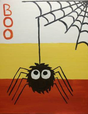 "Oct 16, Sun, 5-7pm ""Halloween Spider"" Public Family Painting Class in St. Charles"