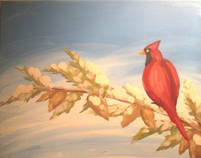 "Nov 18, Wed, 7-10pm ""Cardinal Red"" Open Wine & Painting Class in St. Charles"