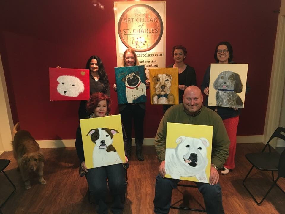 Jan 22, Sun,  2 -5pm Dog Days Open Wine and Painting Class in St. Charles