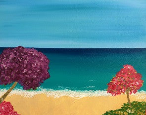 "Aug 10, Wed, 7 to 9pm ""Colorful Paradise"" Open Wine and Painting Class"