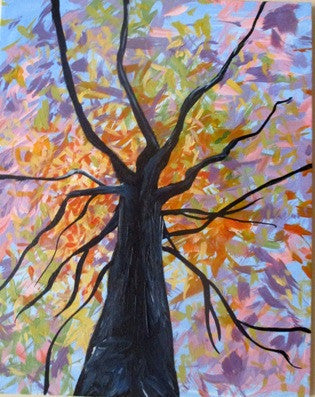 "Feb 28, Sun, 12 to 3pm ""Colorful Tree"" Open Wine and Painting Class"
