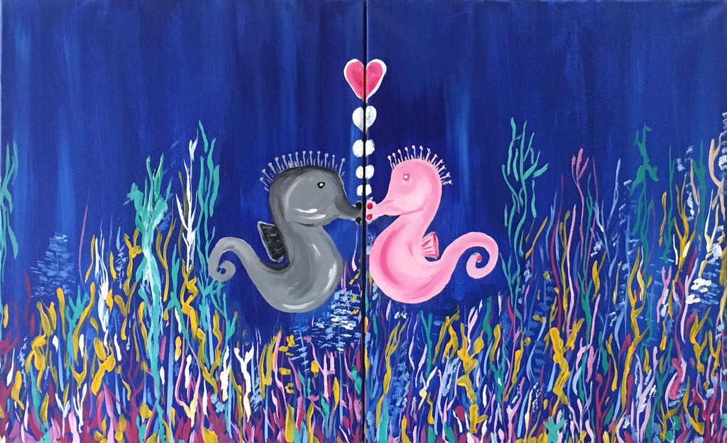"Feb 14, Tue, 6:30-9pm ""Seahorse Love"" Open Wine and Painting Class in St. Charles"