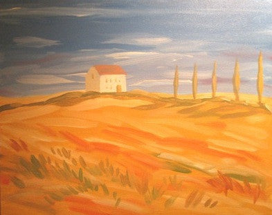 "Aug 23, Sun, 2-4pm ""Italian Field"" Public Wine & Paint Class in St. Charles"