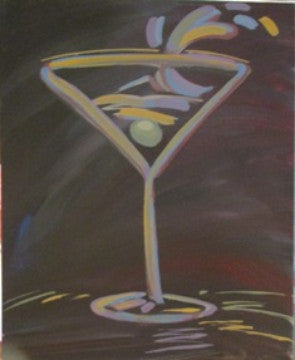 "Feb 2, Tue, 7-9pm ""Martini Splash"" Open Wine and Painting Class in St. Charles"
