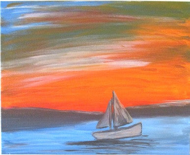 "Aug 16, Sun, 7-9pm ""Morning Sail"" Public Wine & Painting Class in St. Charles"