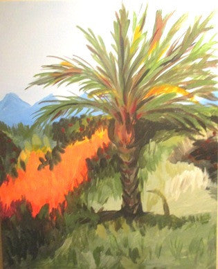 "Aug 12, Wed, 7-10pm ""Palm Tree"" Public Wine & Painting Class in St. Charles"