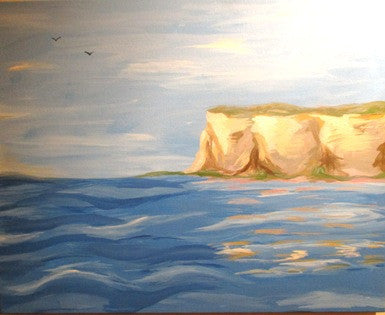 "Aug 26, Wed, 7-9pm ""River Bluff"" Public Wine & Paint Class in St. Charles"