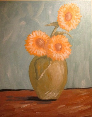"Aug 18, Tue, 7-10pm ""Sunflowers"" Public Wine & Painting Class in St. Charles"