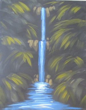 "Aug 11, Tue, 7-9pm ""Jungle Waterfall"" Public Wine & Painting Class in St. Charles"