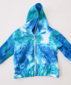 Blue and teal tie dye baby jacket.