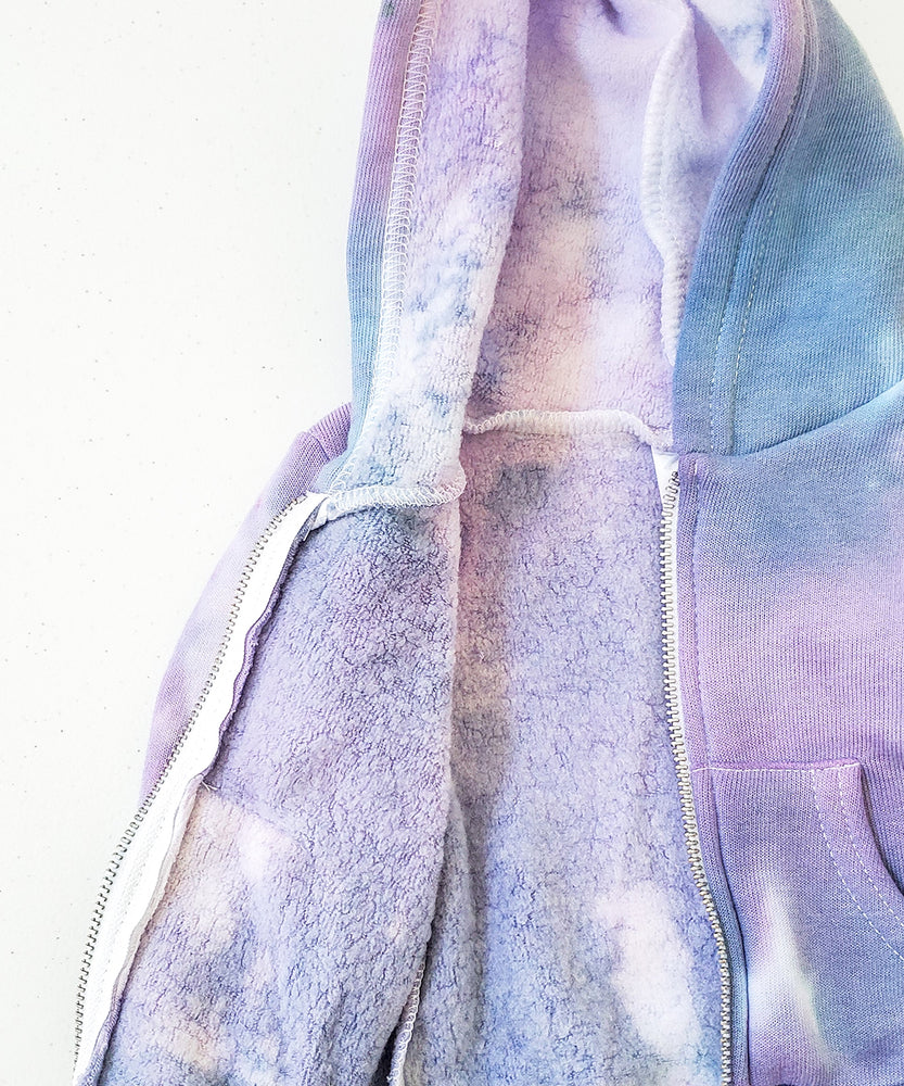 Purple and blue tie dye baby jacket.