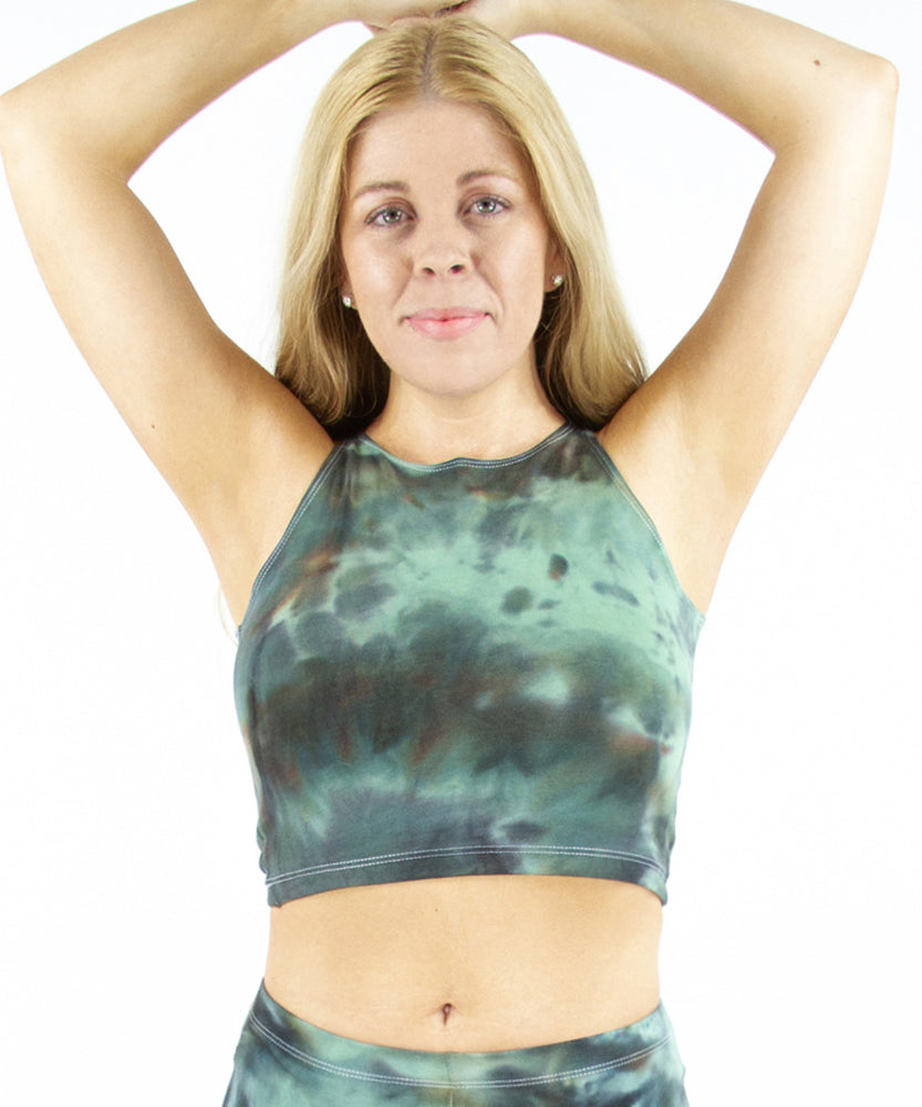 Camo Green Tie Dye Crop Top