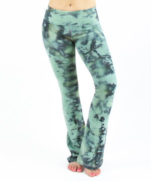 Load image into Gallery viewer, Tie dye green camo yoga pants with a fold over waistband.
