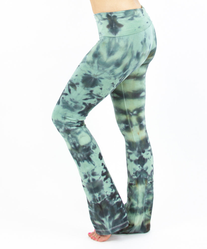 Tie dye green camo yoga pants with a fold over waistband.