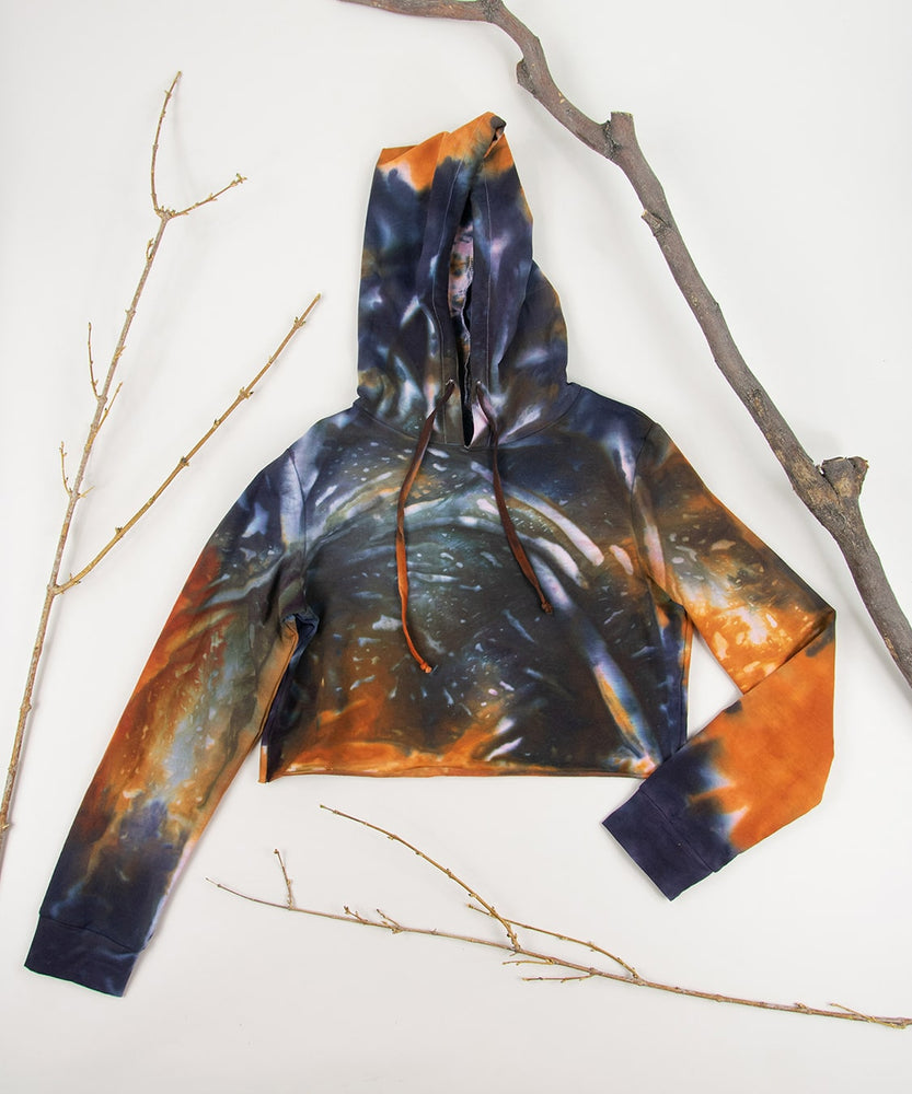 Orange and black tie dye hoodie crop top by Akasha Sun.