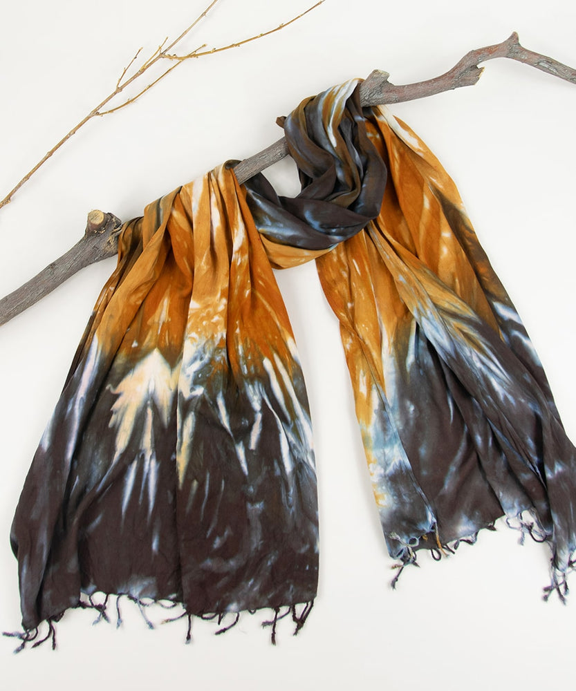 Orange and black tie dye scarf by Akasha Sun.
