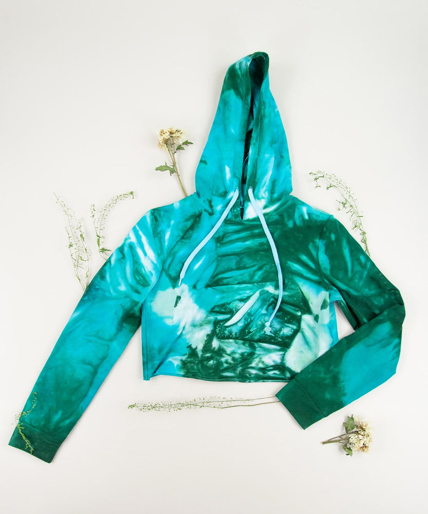 Load image into Gallery viewer, Teal and green tie dye hoodie crop top by Akasha Sun.