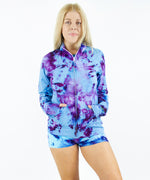 Blue + purple tie dye jacket by Akasha Sun.